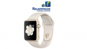 Apple Watch Sport Caixa de 38 mm dourada de alumínio com pulseira esportiva off-white