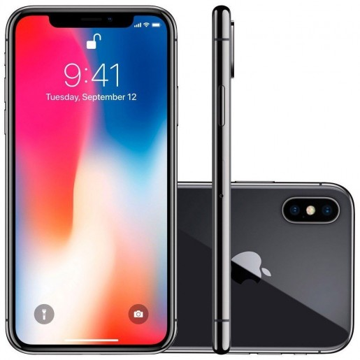 IPhone X  64GB Cinza Espacial Tela OLED sem bordas Multi-Touch de 5,8, 4G, Câmera de 12 MP - Apple